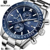 China Benyar Fashion Men Stainless Steel Band Waterproof 30m Chronograph Luminous Quartz Wrist Watch BY-5140 wholesale