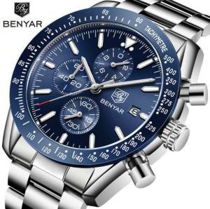 Buy cheap Benyar Fashion Men Stainless Steel Band Waterproof 30m Chronograph Luminous from wholesalers