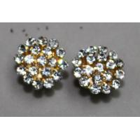 China 2013 wholesale goloden rhinestone flower clip-on earrings / metal casting jewelry  for girls wholesale