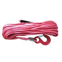 China Twelve Strand Red 50 Ft Synthetic Winch Rope With Hook , UHMWPE Fiber 4x4 Winch Cable wholesale