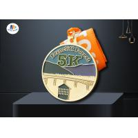 China Zinc Alloy Custom 5K Race Medals 65*4MM Background Sandblast Medaillen on sale