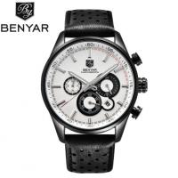 China Benyar Fashion Leather Strap Stylish men's Watch Outdoor Casual Quartz Wrist Watch BY-5108 wholesale