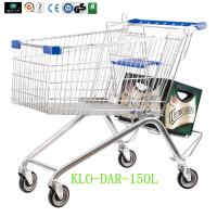 Quality Low Carbon Steel Metal Shopping Cart With Wheels / Supermarket Shopping Trolleys for sale