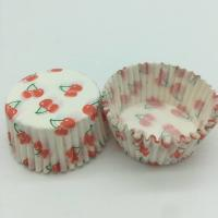 China Cherry Pattern Greaseless Cupcake Liners , Muffin Cake Paper Cups For Children Party wholesale