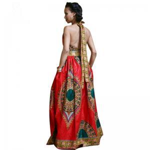 Quality African Style Dresses Women Dashiki Wax Batik Printing Sleeveless Sexy V Neck for sale