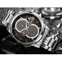 Quality CADISEN Fashion Steel Strap Men 1/10 Second Chronograph Waterproof 30m Multifunction Wrist Watches C9054 for sale