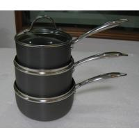 China 20cm Stamped Hard Anodized Non Stick Milk Pan With Glass Lid wholesale