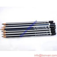 China classic round red and black stripped wooden HB pencil with eraser topper wholesale