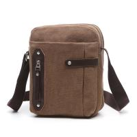 China Business Male Messenger Small Crossbody Bag Khaki With Vertical Zipper wholesale