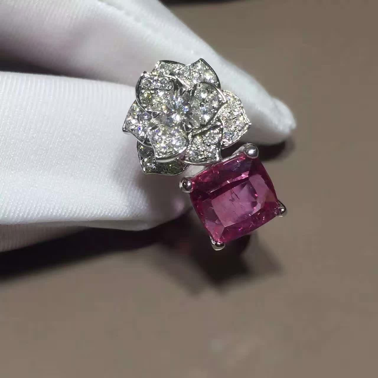 China 18K White Gold Piaget Rose Flower Ring G34UU600 With Cushion - Cut Pink Tourmaline wholesale