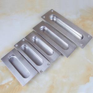 China Satin stainless steel rectangular furniture recessed pulls door handle on sale