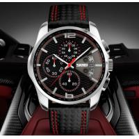 China SKMEI Fast and Furious Chronograph 9106 Men Luxury Leather Wristwatch Quartz Waterproof Watches 9106 wholesale