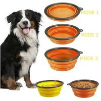 China dog bowl plastic feeder pet cat food collapsible dog bowl silicone foldable dog food bowl portable travel pet water bowl on sale