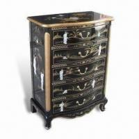 China Black Lacquer Furniture Curio Cabinet with Hand Painted Landscape, Mother of Pearl Inlaid on sale