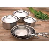 China Stamped 3 Layers Stainless Steel Cooking Pans , Brushed Interior wholesale