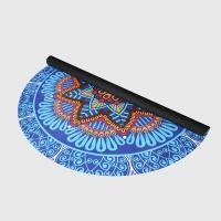 China Custom floral print natural rubber suede microfiber surface round circle yoga mat for fitness wholesale