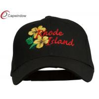 Quality Violet Embroidered Low Profile Fitted Baseball Cap Cotton Black USA State Rhode Island for sale