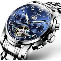 China Wholesale Men Full automatic mechanical  stainless steel blue flywheel watch With Month Week Date display JYD-J014 wholesale