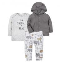 China Boy 3 Pcs Baby Clothes Set Print Animal Baby Clothes Pants And Hooded Top wholesale