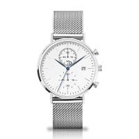 China Quartz Chronograph Silver Stainless Steel Watch With Interchangeable Mesh Band wholesale