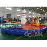 China Outdoor / Indoor Inflatable Interactive Games Bouncer Mat For Blowing Game With 7 Blowing Pins wholesale