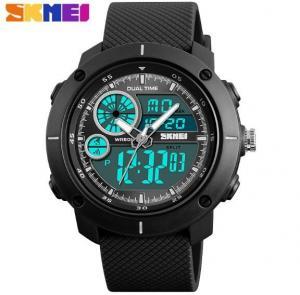 China Skmei Yong Fashion Dual Time Chronograph Stopwatch PU Strap 5 ATM Waterproof  Wrist Watches  1361 wholesale