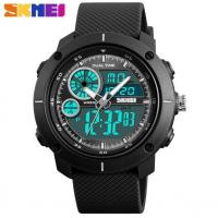 China Skmei Yong Fashion Dual Time Chronograph Stopwatch PU Strap 5 ATM Waterproof  Wrist Watches  1361 wholesale