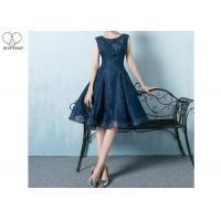 China Navy Blue Lace Short Length Prom Dresses Knee Length Sleeveless And Beading wholesale