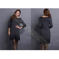 China Fashion Narrow Waist Ladies Sweater Dresses with Ruffled Collar Striped for Autumn wholesale