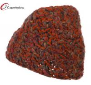 Quality Bow Mix Yarn Acrylic Knit Winter Hats , Orange Women Fashion Warm Cap for sale