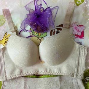 Unique soft Jacquard embroider fabric push up bra-skin color