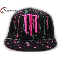 China Colored Flat Custom Embroidered Baseball Cap With Raindrop Printing wholesale