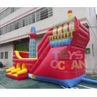 Quality Giant Red Pirate Ship Inflatable Slides Pirate Boat Design For Kids Amusement CE for sale