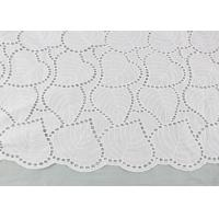China Off White Eyelet Cotton Lace Fabric Leaf Embroidery Patterns For Dresses Blouses wholesale