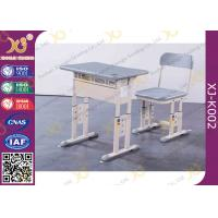 China Grey Adjustable Classroom Desk And Chairs For Nigeria Ghana / Educational Furniture wholesale