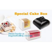 China Wholesale custom Paper Cookies packing Cake Box with PVC window,Wholesale Plastic Square Birthday Wedding Packaging Clea on sale