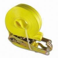 China Marine Boat Tie Down Strap with Yellow Plated Double J Hooks and 2 Inches Wide Webbing wholesale