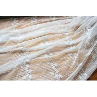 """China Embroidery Floral White Tulle Lace Fabric For Dress Clothing / Scarf / Curtain 51.18"""" Wide wholesale"""