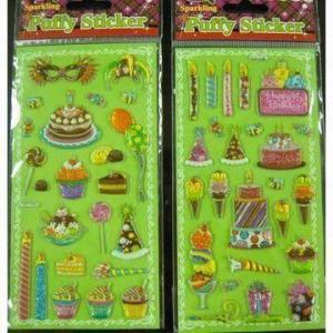 China Sparkling puffy stickers, metallic wholesale