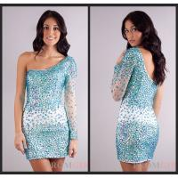 China Mini Sheath Long Sleeve Crystal Evening Homecoming Dresses With One Shoulder on sale