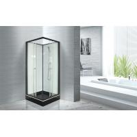 China Popular Bathroom Glass Shower Cabins 800 X 800 With Square Black ABS Tray wholesale