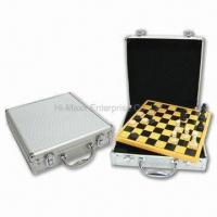 China 2-in-1 Chess/Checker Game Set in Aluminum Case, 24.3 x 24.3 x 6.7cm Case Size on sale