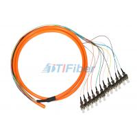 China ST 0.9mm Breakout Fiber Optic Pigtail , 12 core Optical Cable wholesale