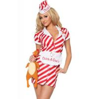 Uniform Womens Sexy Costumes Air Hostess Pilo Cosplay White Red