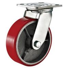 Red Heavy Duty Swivel Plate Caster Wheel / 6 Inch Caster Wheels Polyurethane On for sale