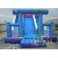 China Blue Playground Adult Inflatable Slides 3 Lanes For Sea Paradises wholesale