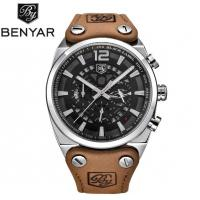 China BENYAR Men Leather Strap Waterproof 30m Fashion Leisure Chronograph Quartz Wrist Watches BY-5112 wholesale