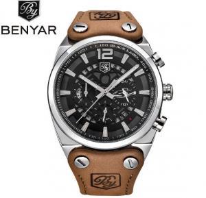 Quality BENYAR Men Leather Strap Waterproof 30m Fashion Leisure Chronograph Quartz Wrist for sale