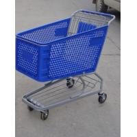 Quality Plastic Supermarket Shopping Carts , Color Powder Coating Shopping Trolleys for sale