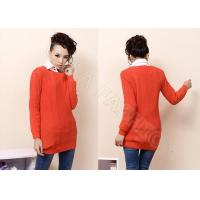 China Ball Knitting Ladies Cable Knit Sweater Scoop Neck , Long Sleeve Orange Sweaters for Women wholesale